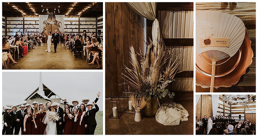 The Allen Farmhaus | New Braunfels Wedding | New Braunfels Wedding Planner | San Antonio Wedding Planner | Indoor Ceremony | Rain Plan Ceremony | Pampas Grass | Bridal Party