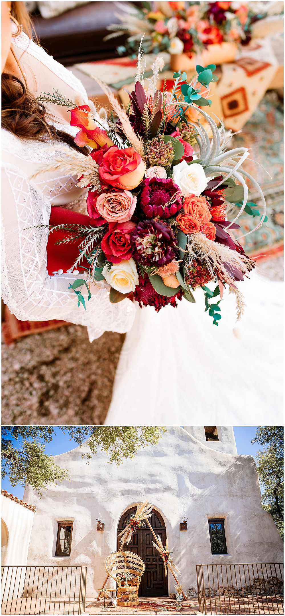 snap chic photography, southwest styled shoot, Texas hill country wedding photographer, Boerne Texas weddings, Orange and turquoise bridal bouquet