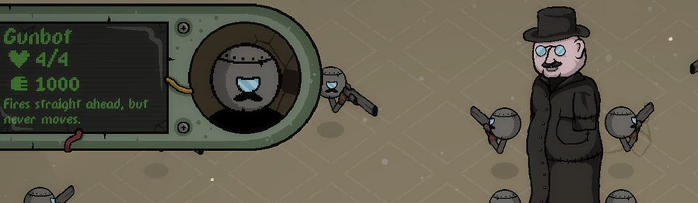 Dustbowl Danny and his Mustachio'd Gunbots, as seen in Waste World II.