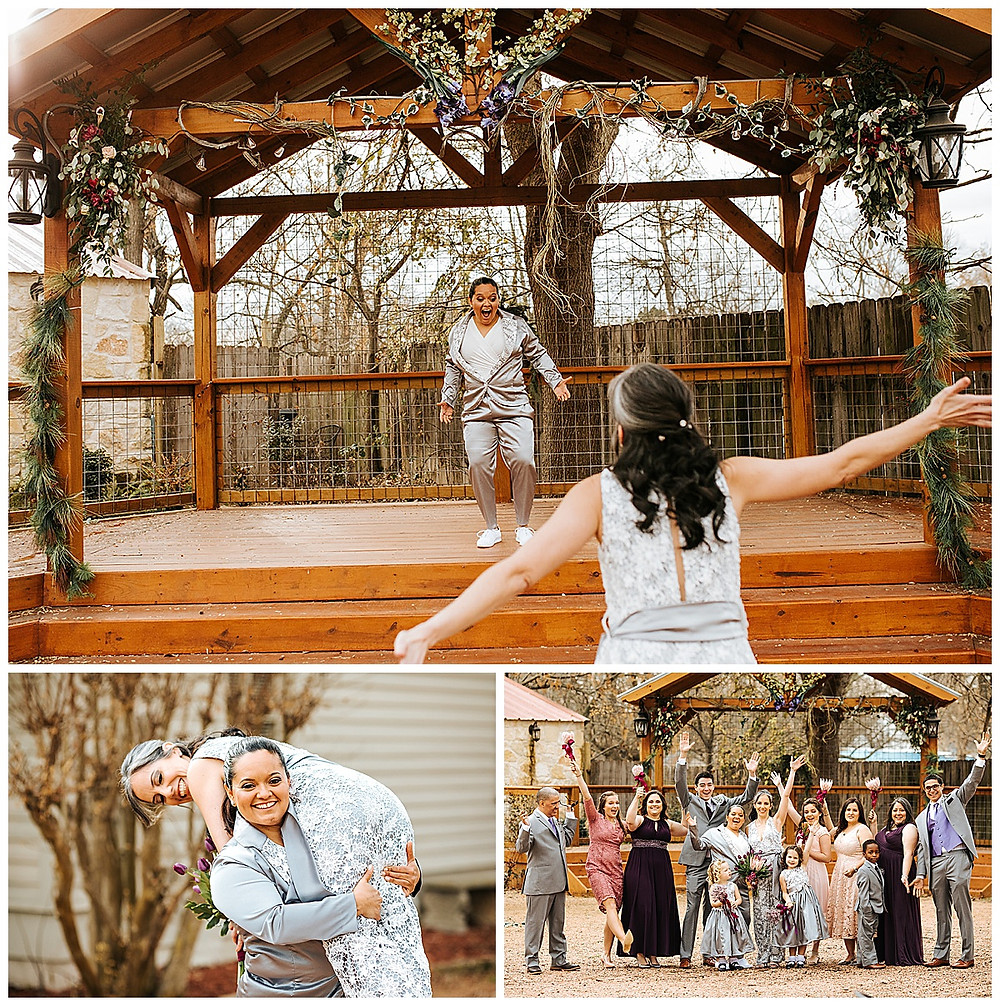 Lesbian Wedding | Boerne Wedding | Boerne Wedding Planner | Same Sex Wedding | Spinelli's Venue | First Look | Two Brides | Pride Posse