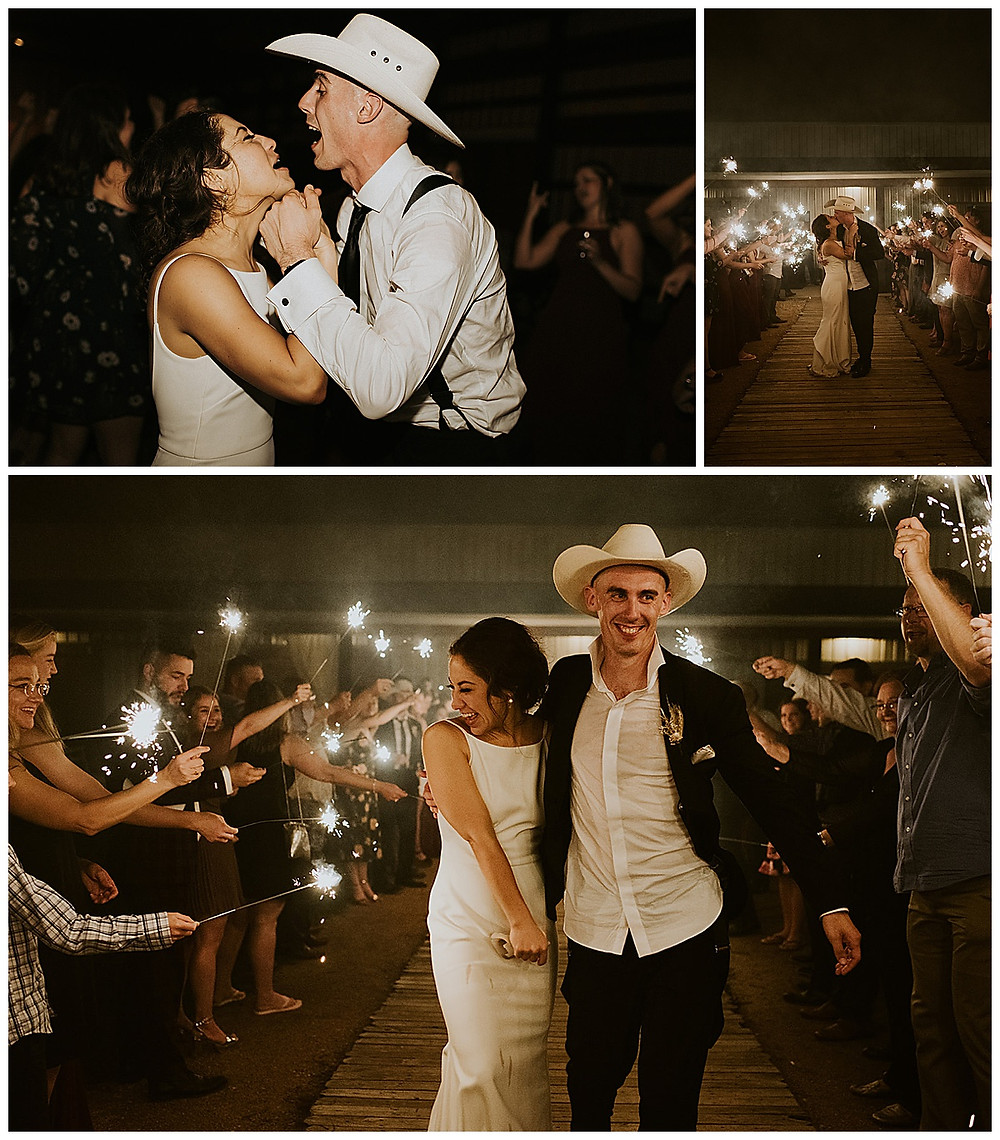 The Allen Farmhaus | New Braunfels Wedding | Hill Country Wedding Planner | Reception | Sparkler Exit | Bride and Groom