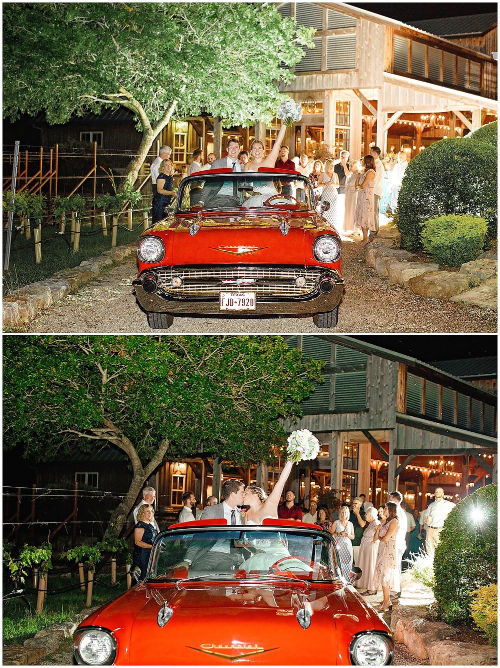 Boerne Wedding Photographer, San Antonio Wedding Photographer, Boerne Wedding Venue, Snap Chic Photography, Texas Hill Country Wedding, Riven Rock Ranch Wedding Venue, Comfort Texas Wedding Venue, Covid-19 Wedding | Vintage Getaway Car for Wedding