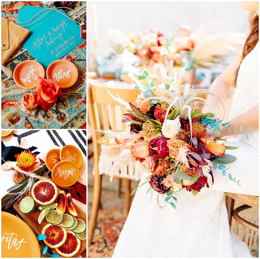 snap chic photography, southwest styled shoot, Texas hill country wedding photographer, Boerne Texas weddings, orange bouquet