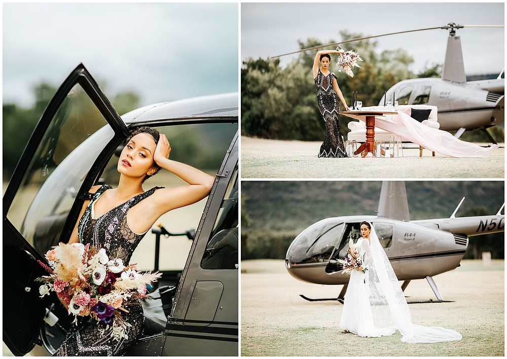 Boerne Texas Wedding Photographer, Texas Hill Country Wedding Venue, Helicopter Bridal Session, Wedding Helicopter Styled Shoot, Black and pink wedding floral, Bridal Bouquet, Black Wedding Dress, African American Bridal Makeup, Black Bride, Unique Wedding Floral,