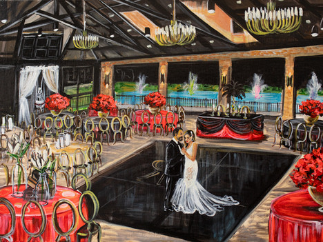 Live Wedding Painter at The Red Berry Estate, San Antonio Texas. Snap Chic Wedding Painting, Laura Herndon Artist
