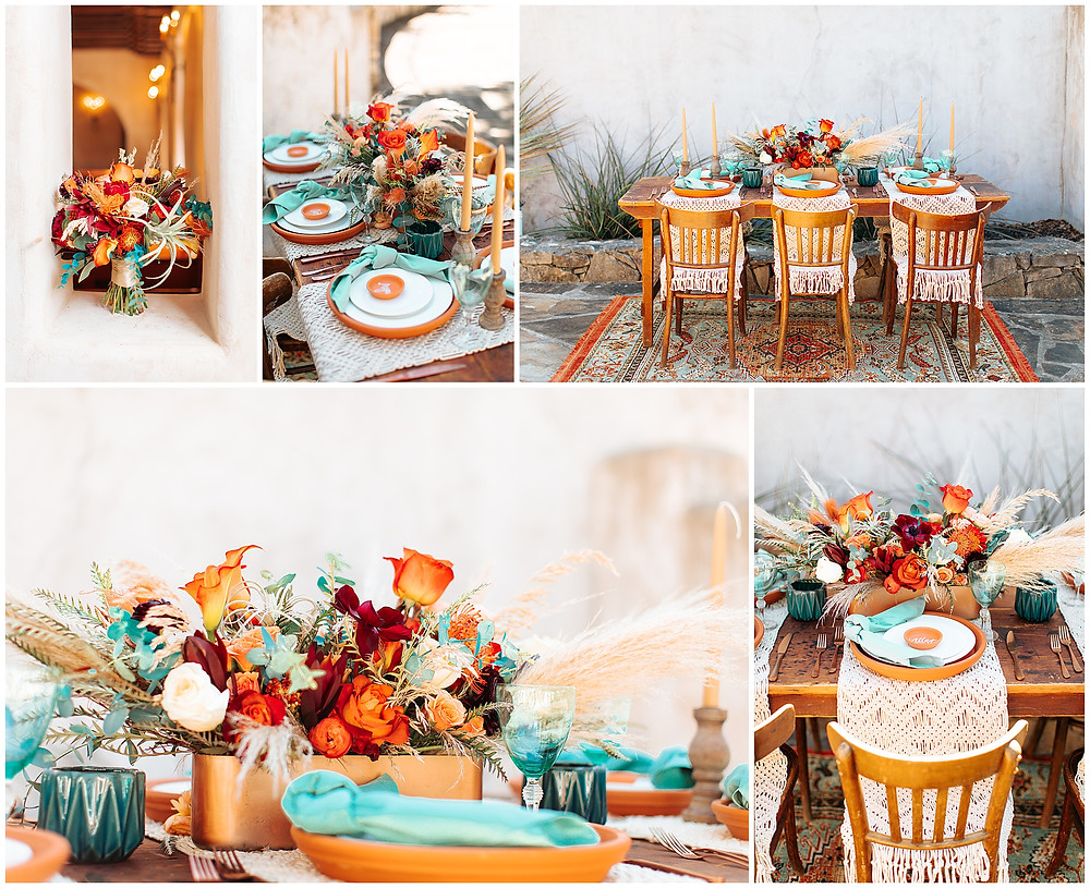 snap chic photography, southwest styled shoot, Texas hill country wedding photographer, Boerne Texas weddings, table scape orange and turquoise