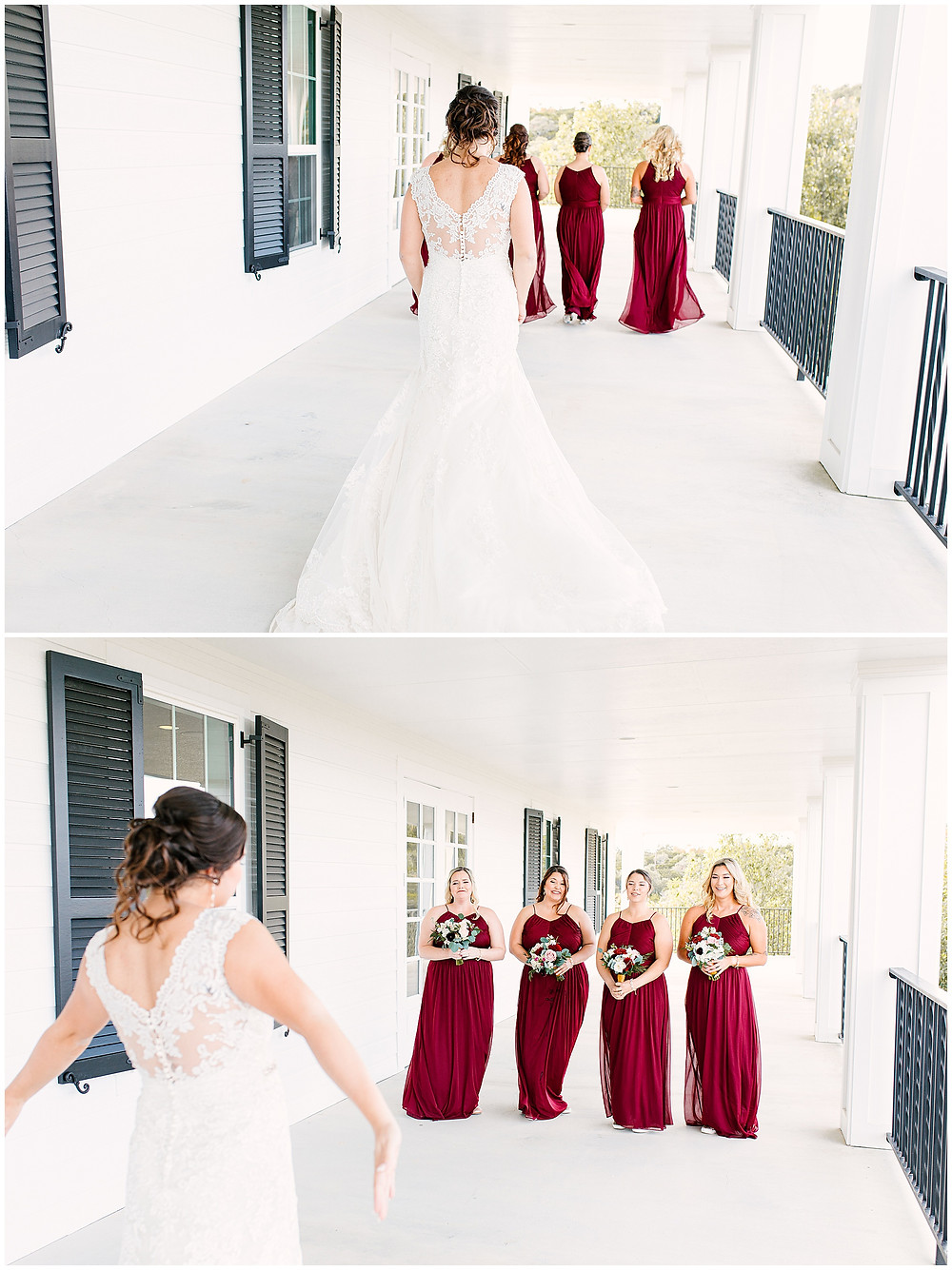 First look with bridesmaids | Boerne Wedding Photographer | Kendall Plantation Wedding | Snap Chic Photography | San Antonio Wedding Photographer | Kendall Plantation Photos | Boerne Wedding Venue