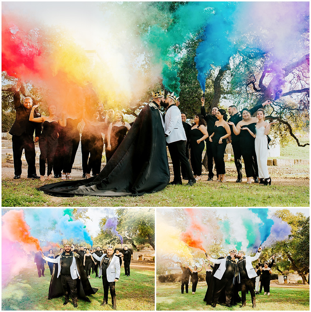 Wedding at the Kendall Point, Boerne Texas Wedding Venue, Kendall Plantation Royal Gay Wedding by Snap Chic Photography with Rainbow Smoke Bombs