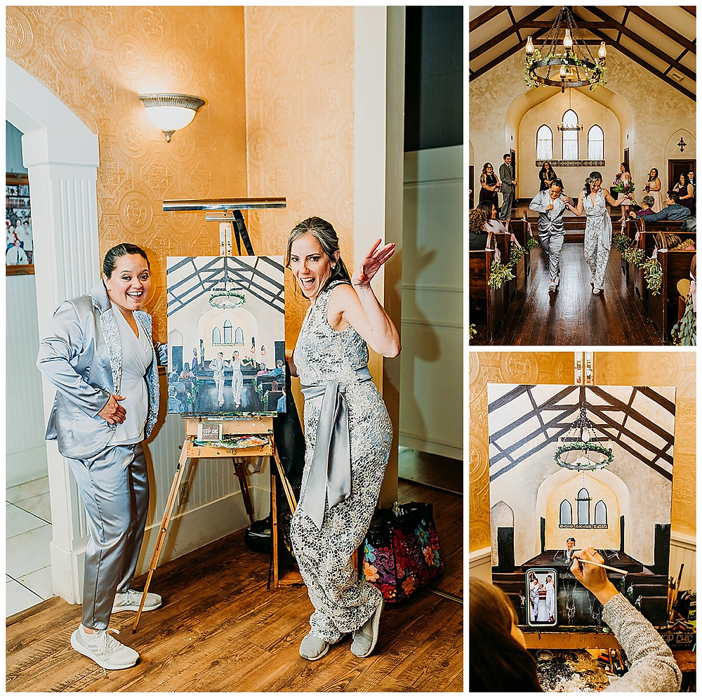 Lesbian Wedding | Boerne Wedding | Boerne Wedding Planner | Same Sex Wedding | Spinelli's Venue | Live Wedding Painting