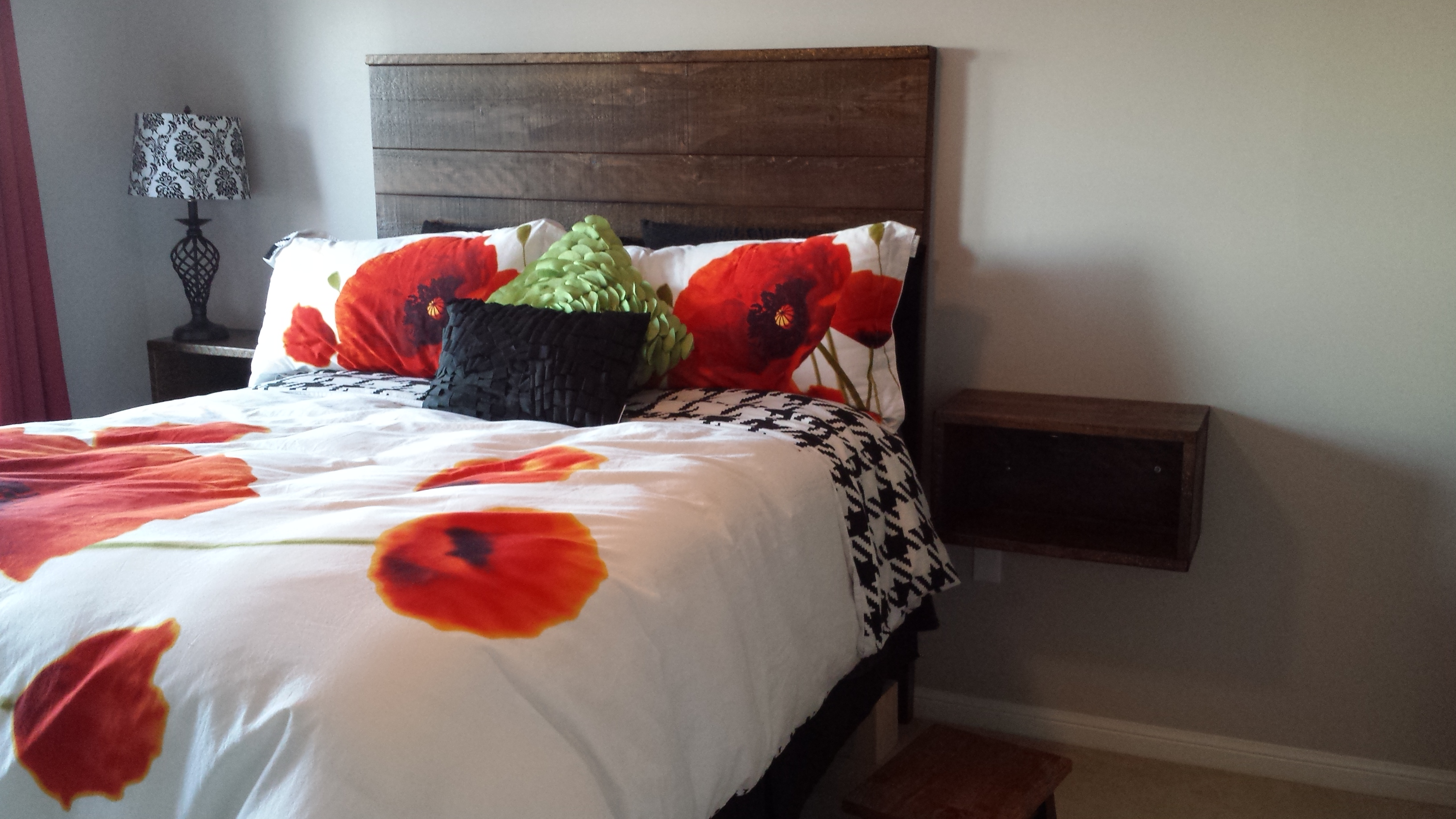 Headboard with Floating Nightstands