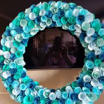 Blue paper rose wreath