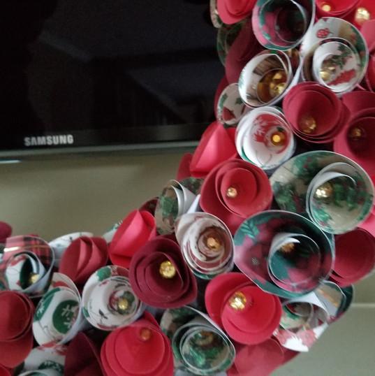 Christmas Paper Rose Wreath