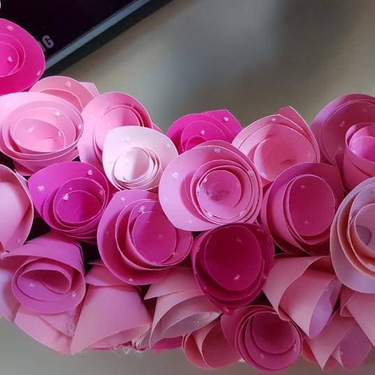 Pink Paper Rose Wreath