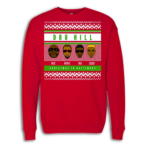 Dru Hill Christmas Sweater Faces Long Sleeve T-Shirt