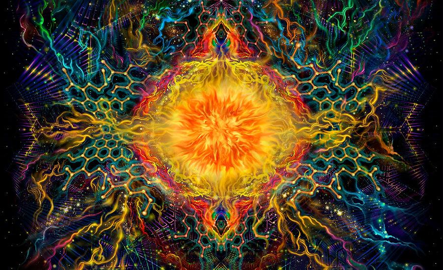 """Психоделічний фон """"Геометрія сонця"""" флуоресцентний друк"""