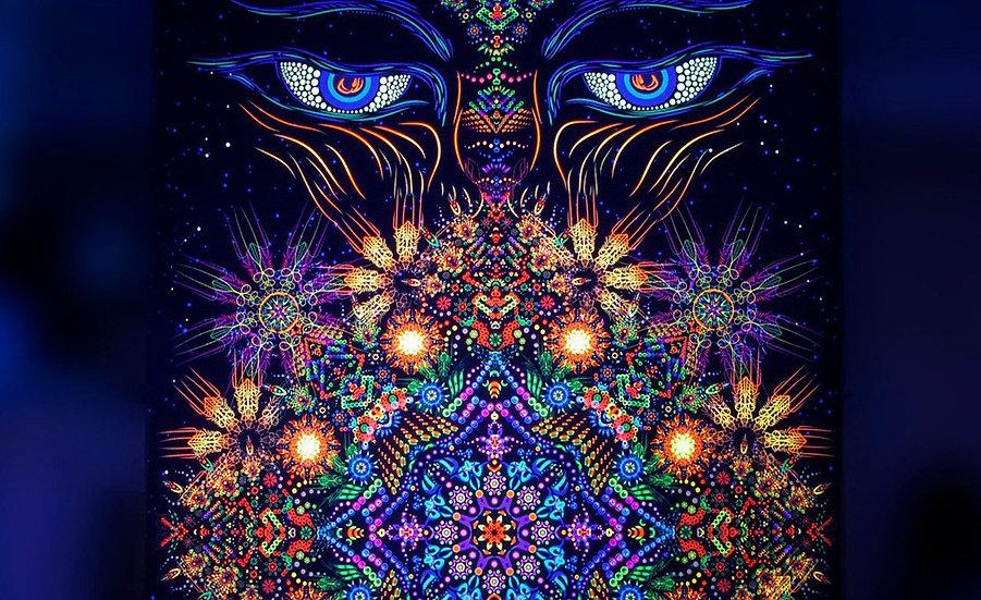"""Психоделічний фон """"Очі Будди"""" флуоресцентний друк"""
