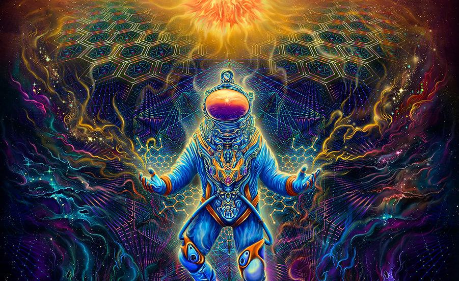 """Психоделічний фон """"Бог Астронавт"""" флуоресцентний друк"""