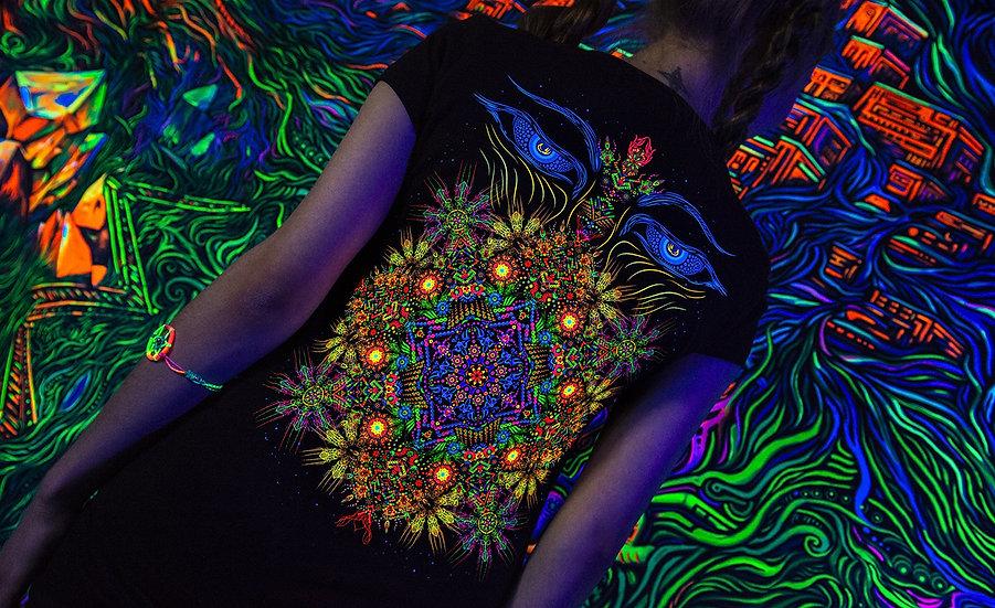 """Психоделічна футболка """"Спостерігач Шамбали"""" Флуоресцентний друк"""