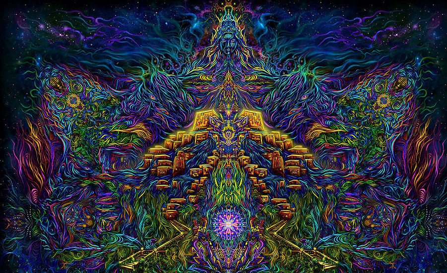 """Психоделічний фон """"Шива - Гора світла"""" флуоресцентний друк"""