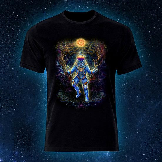 """Психоделічна футболка """"Астронавт"""" флуоресцентний друк"""