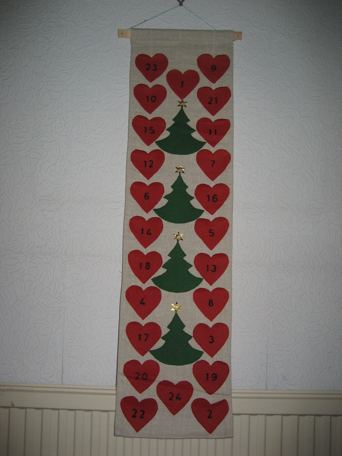 Elspeth's applique advent calendar 2