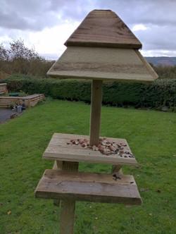 Mike - squirrel feeding pub bench table