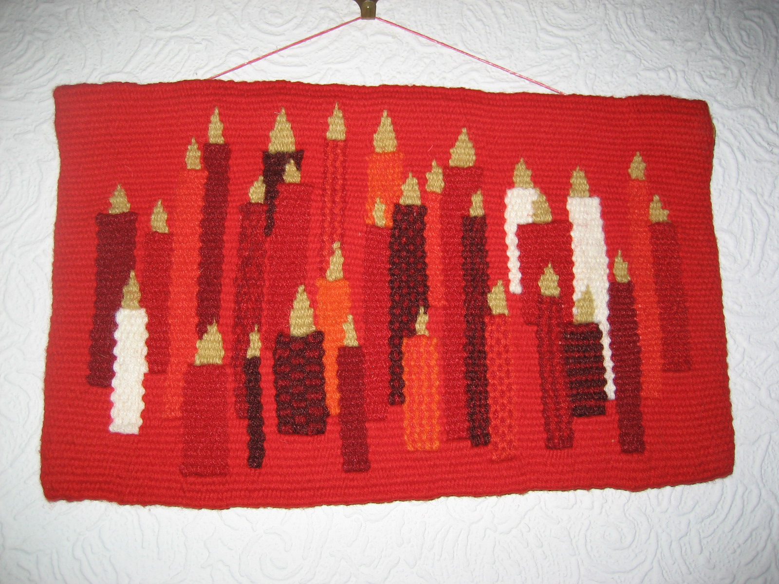 Elspeth's tapestry weaving - candles