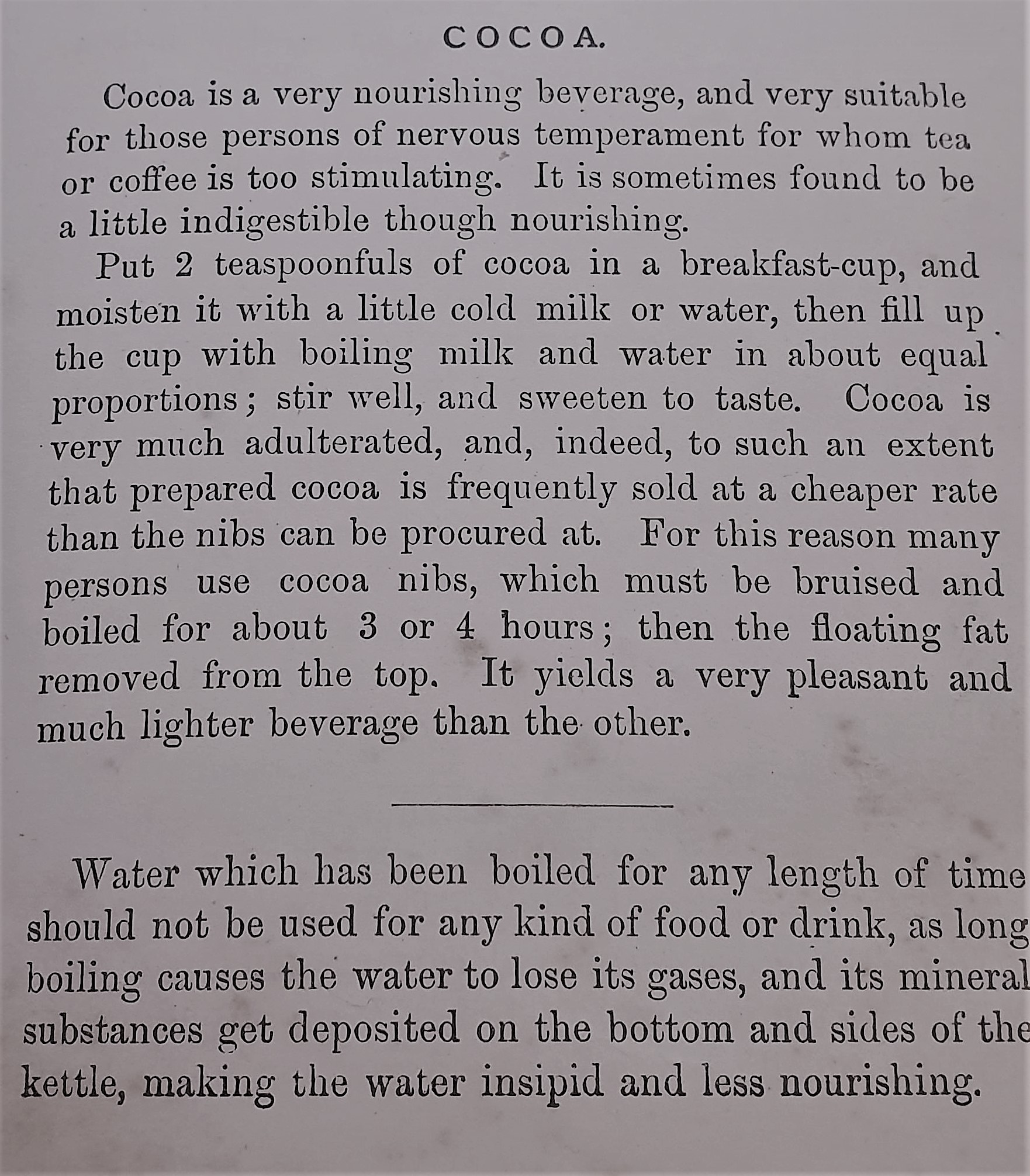 Shona's Great, Great Uncle Malcom's cocoa recipe (1886)