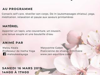 Atelier Bien-être au Lion d'Angers - Shiatsu et Yoga - le 16 mars 2019