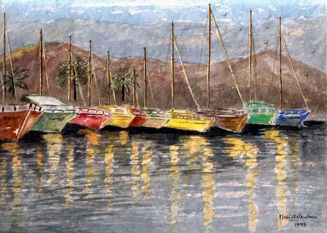 Viareggio - La darsena, 1995 acquerello cm. 21x31
