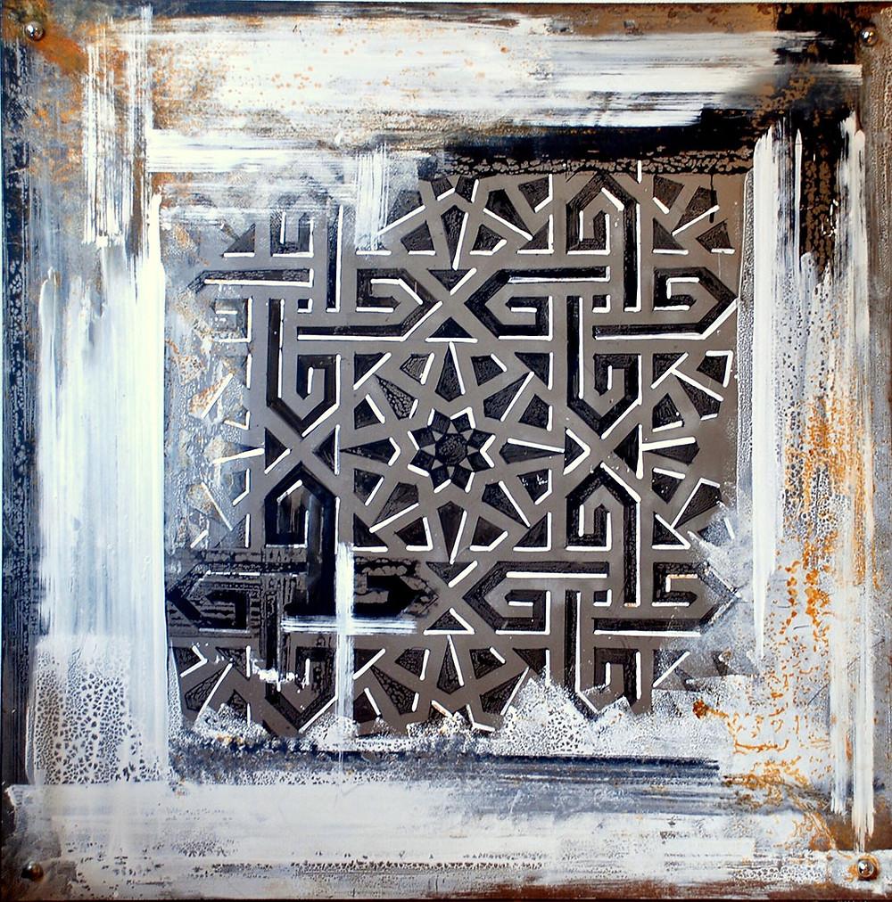 """""""Kundekari I"""", 2015 acrylic on iron – 100×100"""