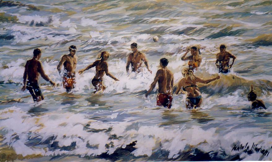In nove in acqua con bionde, 2006 olio su tela