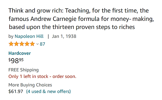 Think And Grow Rich (98 Dollar Amazon Co