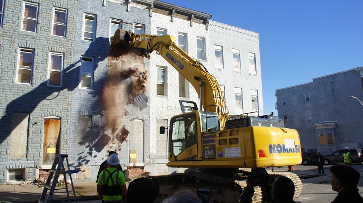 The first demolition in the city-state partnership kicked off in the 1000 block of N. Stricker Street in the Sandtown-Winchester neighborhood.