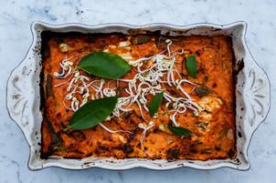 Vegetarisk lasagne med böngroddar och squash