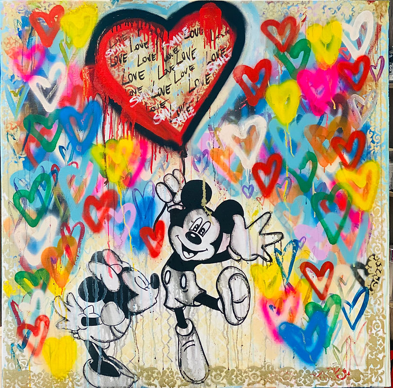100 x 100 cm Love is in the air Acrylics