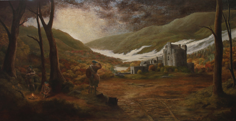61 x 122 cm The Eilean Donan with Jacobites Oil on Oak Board $1000.jpg