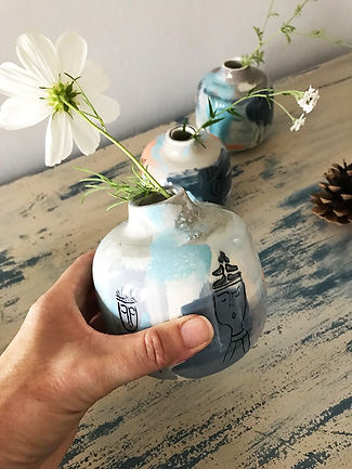 handmade illustrated ceramic bud vase. hand painted ceramic gift.