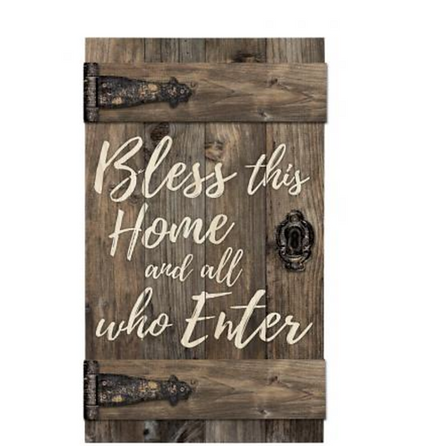 "Barn Door Wood Sign - ""Bless this Home"""
