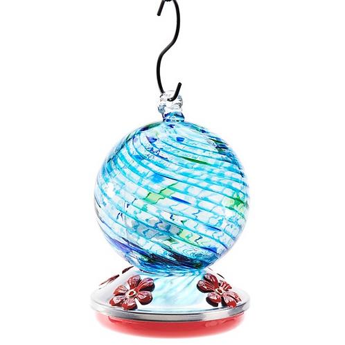 Glass Hummingbird Feeder - Blue Swirl Globe