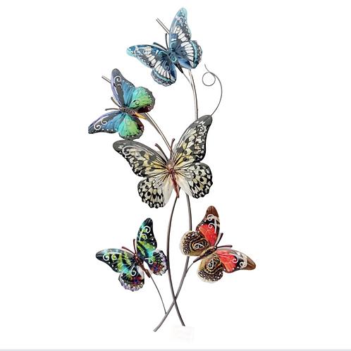 Butterflies on Branch - Metal Wall Art