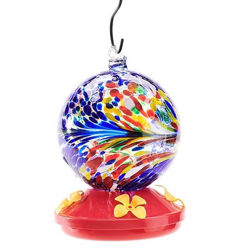 Glass Hummingbird Feeder - Rainbow Globe