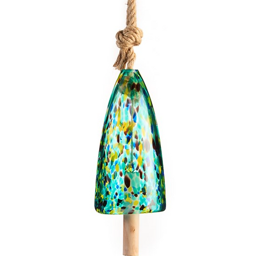 Art Glass Bell Windchime, Green/Blue Polka Dot