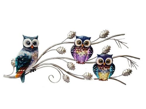 Metal Horizontal Owls on Branch - Wall Art
