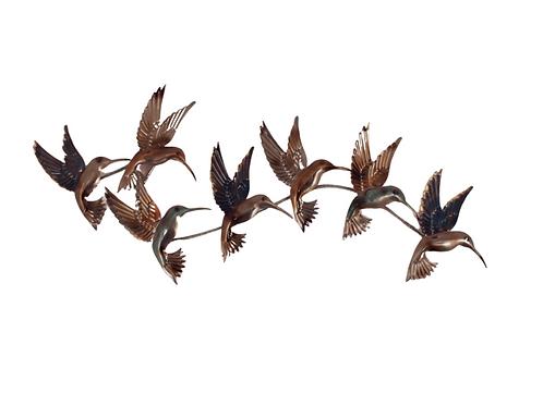 Shiny Metal Hummingbird Charm - Wall Art