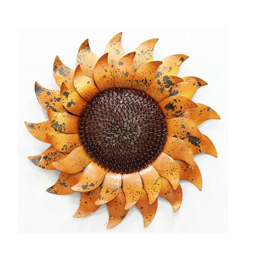"Metal Ocre Sunflower Sign - 17"""