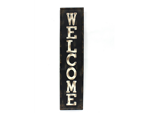Vertical Metal & Wood Sign - 'Welcome""
