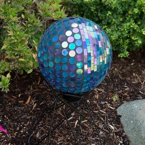 "Blue-Violet Prismatic Mosaic Gazing Globe 10"""