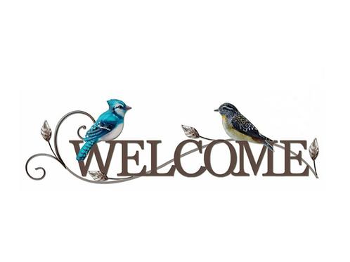"""Metal Sign/Birds -""""Welcome"""""""