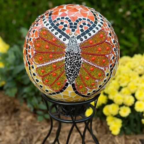 """Butterfly Jewelled Mosaic Gazing Globe 10"""""""